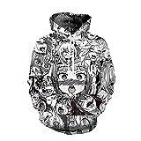 Men's Unisex Hoodies Sweatshirt Pullovers 3D Print Tracksuit Zip-up Jacket (Black-White Ahegao(Hoodie), XL) (Color: Black-white Ahegao(hoodie), Tamaño: X-Large)