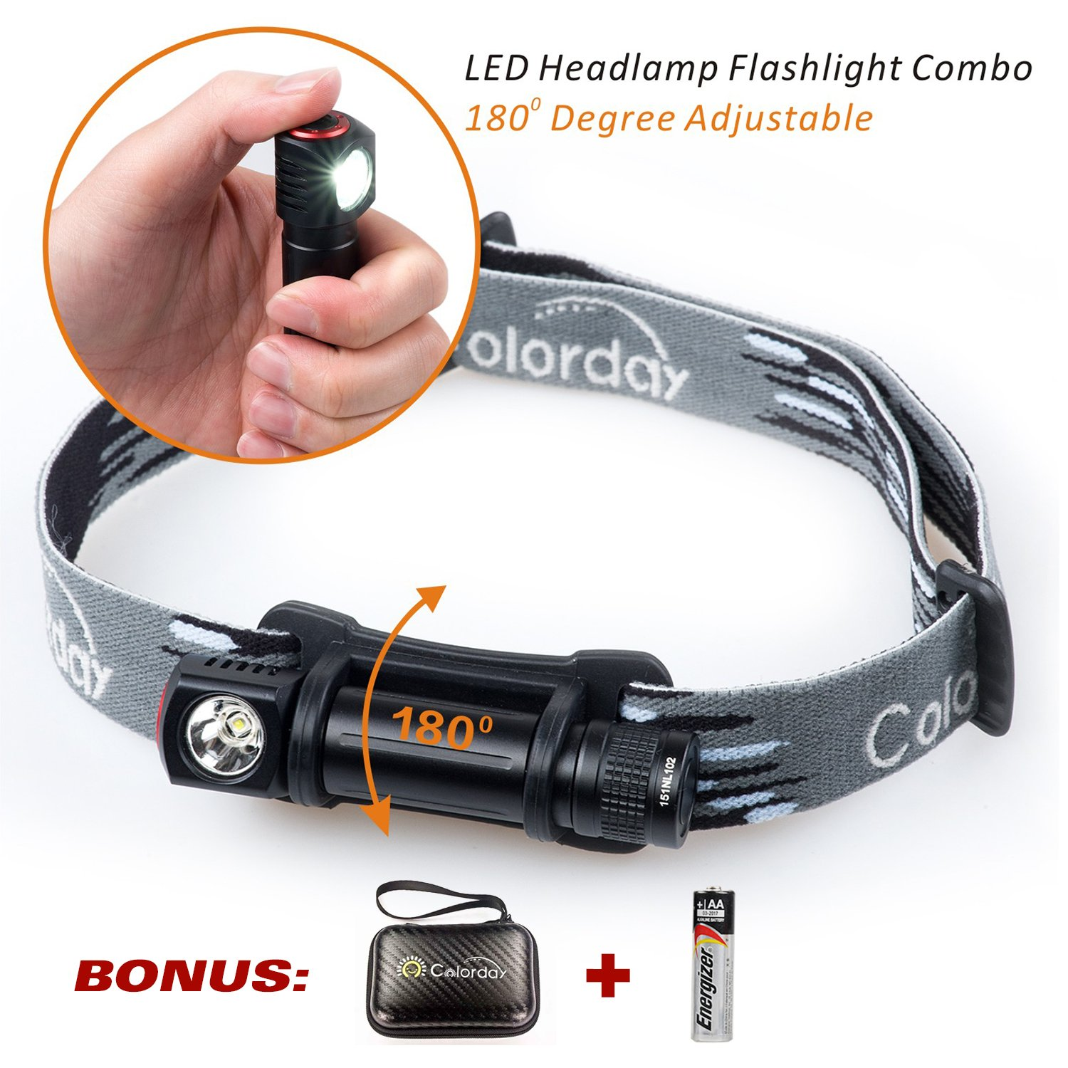 2 in 1 LED Headlamp Flashlight Combo, 150 Lumens, Ultralight Waterproof, 1.2oz,Compact, Full-metal body, for Running, Camping Hiking, Cycling, Kids,ONLY 1 AA battery req Incl 1 Energizer AA.COLORDAY