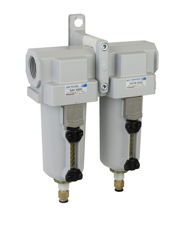 PneumaticPlus SAFU430-N04-MEP Air Particulate (10 µm), Coalescing (0.1 µm) Filter Combo, 1/2'' NPT, Metal Bowl w/Manual Drain by PneumaticPlus