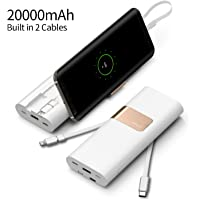 iWalk 20000mAh Power Bank Quick Charge QC3.0/2.0 Built-in Lightning Type-C & Micro USB Cables Portable External Battery Pack Charger,for iPhone X 8 7 6 5s Plus SE ipad,Samsung S9/S8/S7 and More(White)