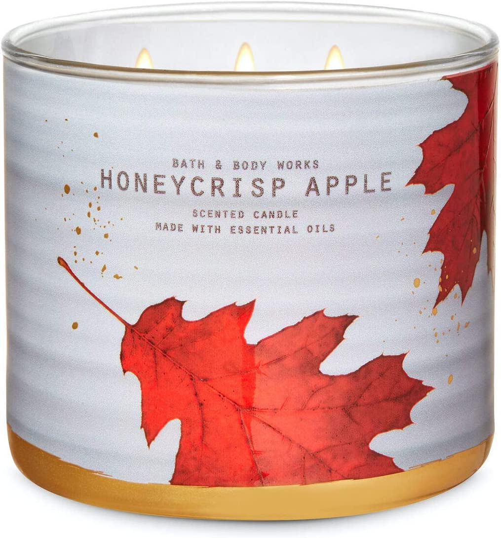 White Barn Candle Company Bath and Body Works 3-Wick Scented Candle w/Essential Oils - 14.5 oz - Honeycrisp Apple (Golden Honeycrisp, Apple Blossom, Fresh Sugarcane)