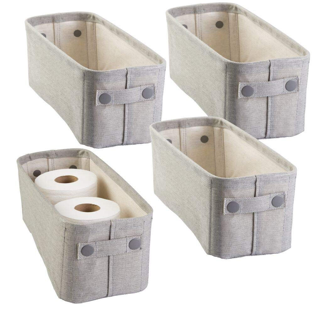 mDesign Cotton Fabric Bathroom Storage Bin for Magazines, Toilet Paper, Bath Towels - Pack of 4, Small, Light Gray