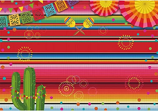 Leyiyi 12x8ft Mexican Fiesta Theme Photography Backdrop Mexico Cactus Guitar Western Cowboy Hat Party Background Cinco de Mayo Colorful Flag Banner Dress up Cake Table Decoration Photo Booth Prop