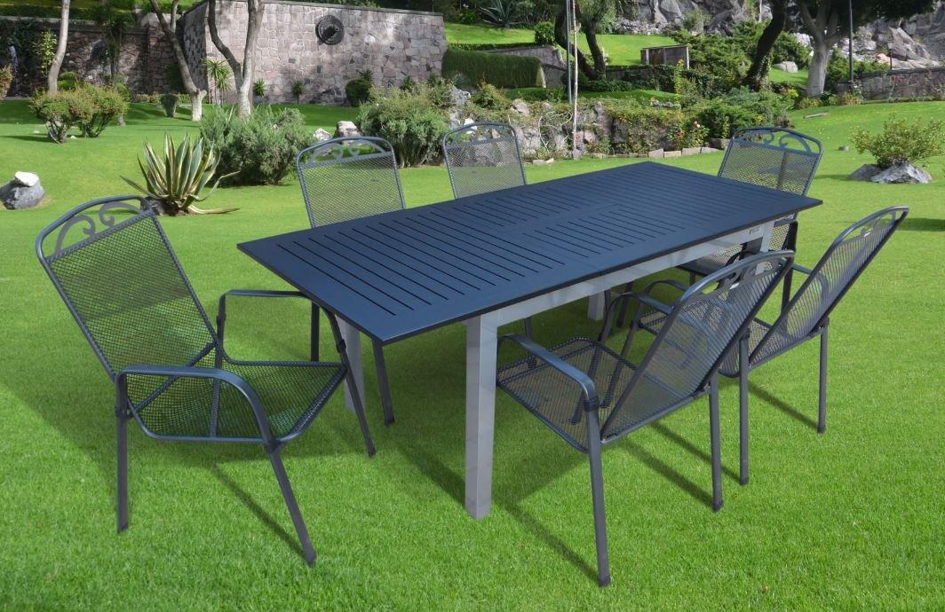 7-teilige Luxus Aluminium Streckmetall Gartenmöbelgruppe Doppler MFG #t in silber anthrazit, Stapelsessel und Ausziehtisch