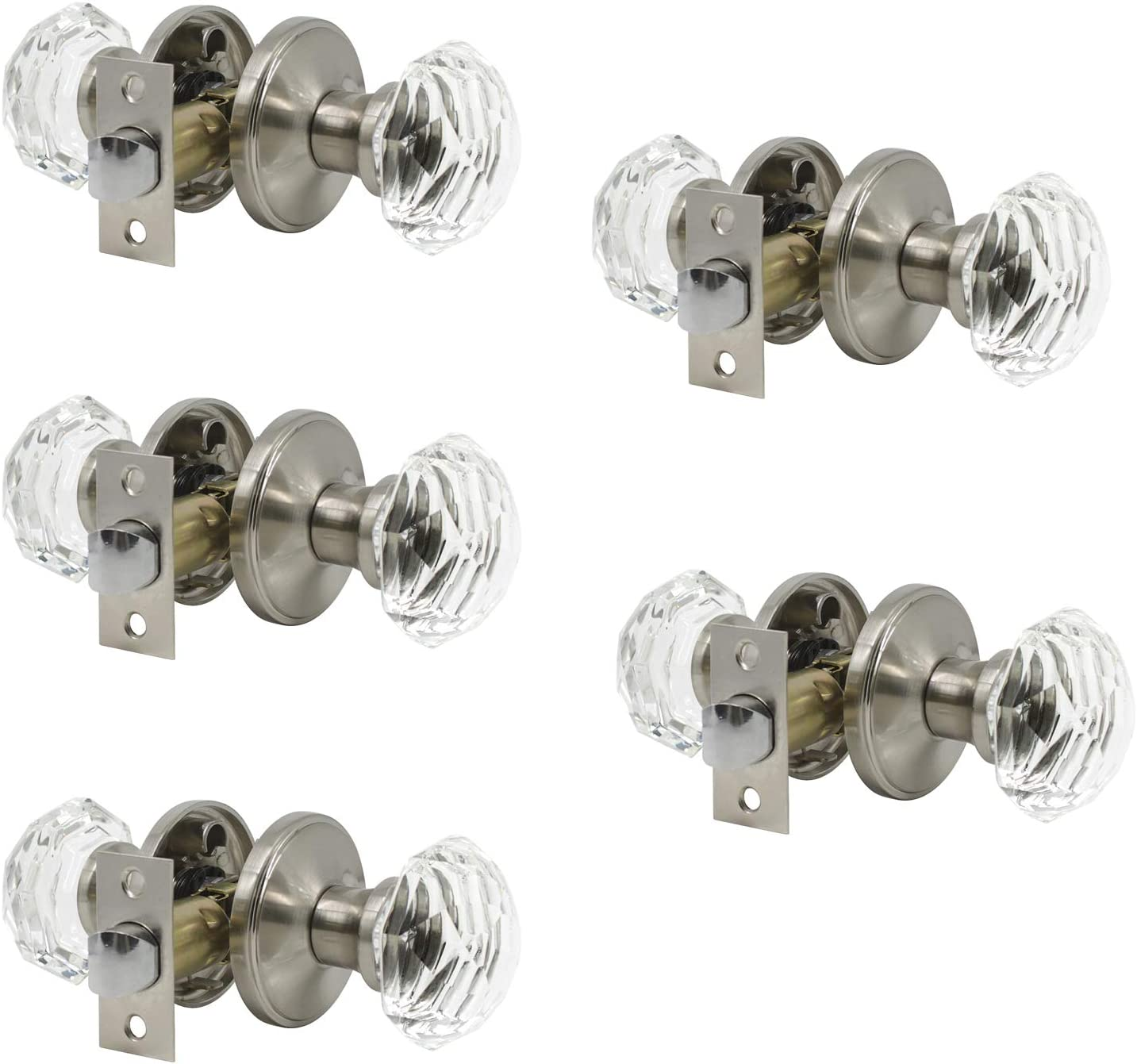 Probrico Hardware (5 Pack) Diamond Crystal Door Knobs, Keyless Knobs Passage Function for Hall and Closet Doors, Classic Round Glass Door Lock Satin Nickel,Perfect for Replacing Broken Antique Lock