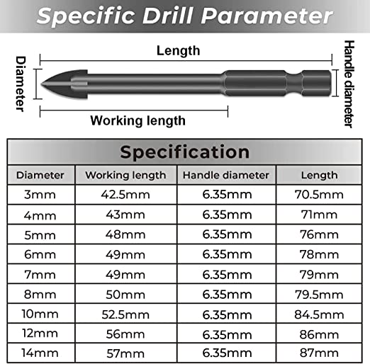 Plastic Wood 3mm, 4mm, 5mm, 6mm, 7mm, 8mm, 10mm, 12mm, 14mm Brick Wall - Black Glass and Thin Iron Plate Tonsiki 9 Pieces Glass Tile Concrete Masonry Drill Bit Set for Tile