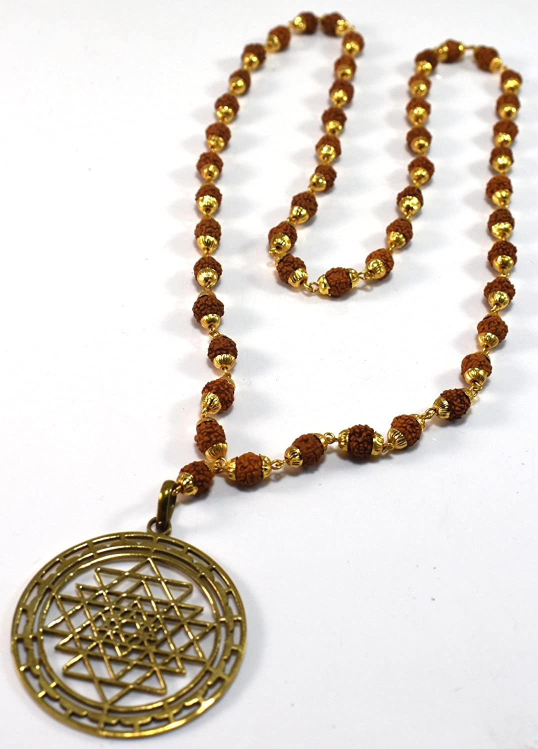 Amazon.com: Sri Yantra Pendant & Rudraksh Gold Plated Rosery ...