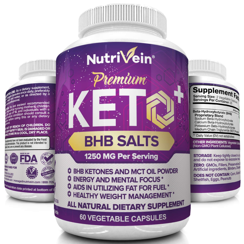 Nutrivein Keto Diet Pills 1250mg - Advanced Ketogenic Diet Keto Fuel Supplement - BHB Salts Exogenous Ketones Capsules - Effective Ketosis Diet Mental Focus and Endurance, 60 Capsules