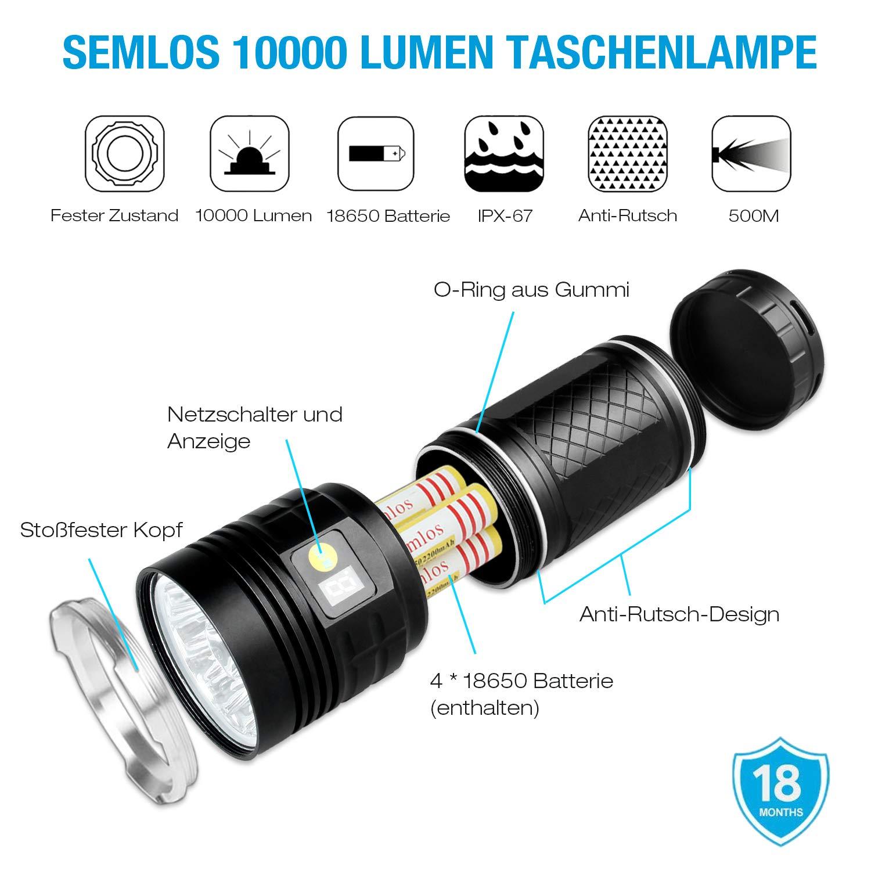 1f89ebafd9e0e Semlos LED taschenlampe 10000 Lumen, 12xLEDs taschenlampe extrem ...
