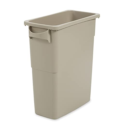 amazoncom rubbermaid commercial fg354100beig lldpe slim jim 15 78 gallon trash can with handles beige industrial scientific - Commercial Garbage Cans