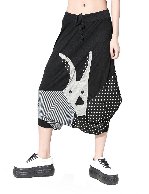 FANOVI Women's Oversized Baggy Harem Pants Goat Patchwork Capris Short Trousers