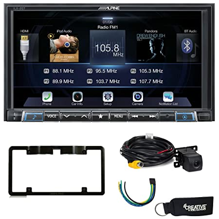 Alpine iLX-207 compatible with Apple Car Play Android Auto, Rear View Camera License Plate Frame, Trigger Module