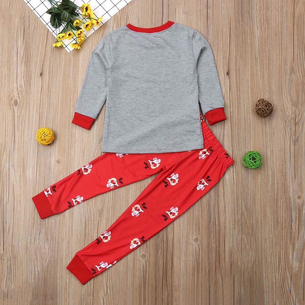 Family Matching Christmas Pajamas Set 2 PCS Santa Claus Print Long Sleeve T-Shirt Tops and Long Pants Homewear Set