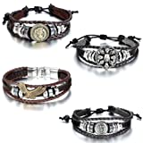 Amazon Price History for:Aroncent 4pcs Vintage Metal Handmade Infinity Silver Wing Leather Bracelet Wristband Adjustable Wrap Cuff Wristband