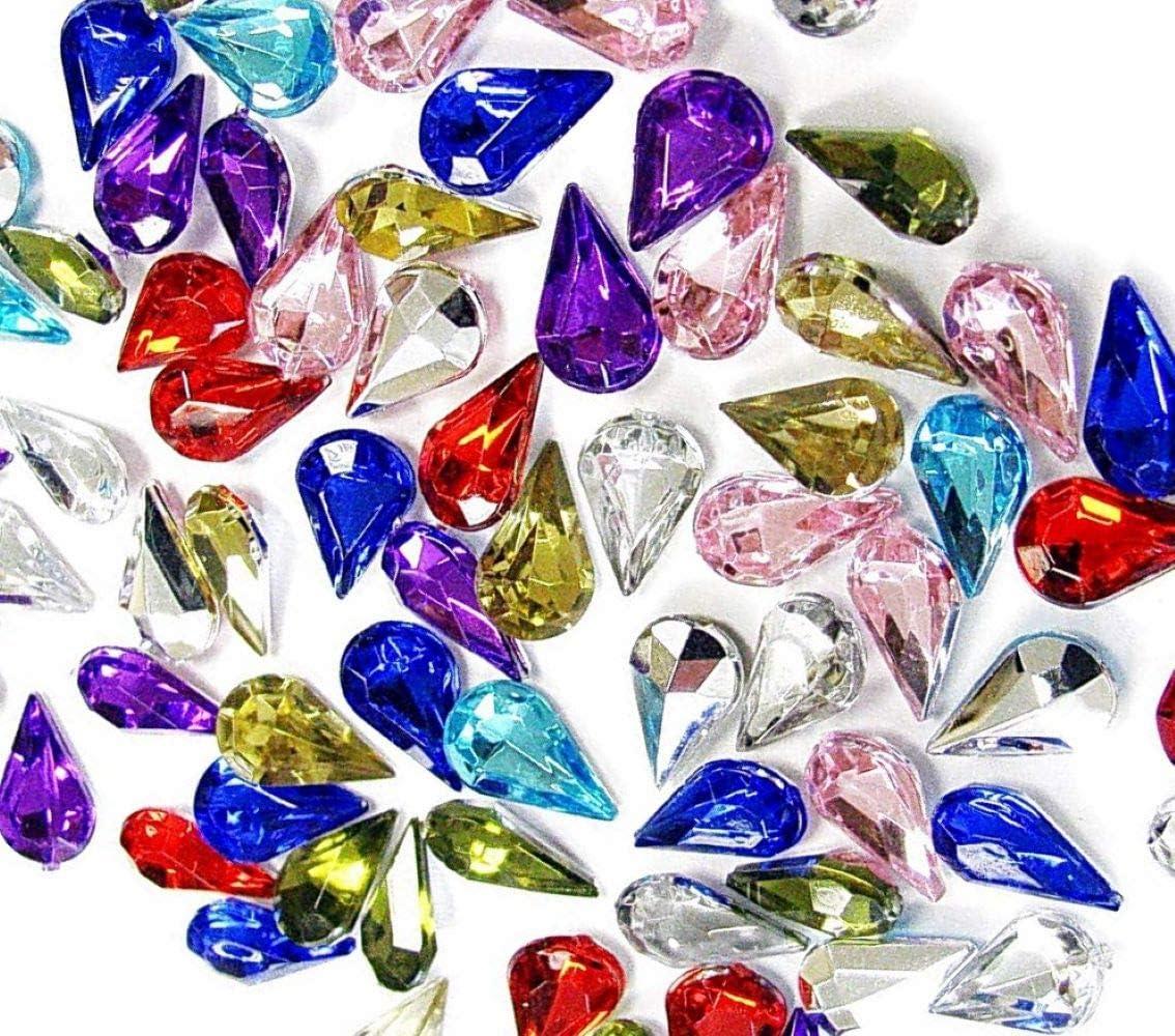 Linpeng 6x10MM Assorted Colors Faceted Drop Shape Acrylic Gems-no.DP-1-Approx.70 Pcs//Pack 6mm x 10mm