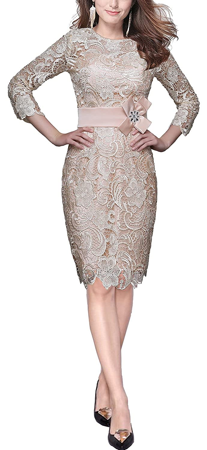 Amazon.com  Factoryoffers Rongstore Sheath Lace Evening Prom Dress with  Beaded Satin Flower X8315  Clothing 409114826