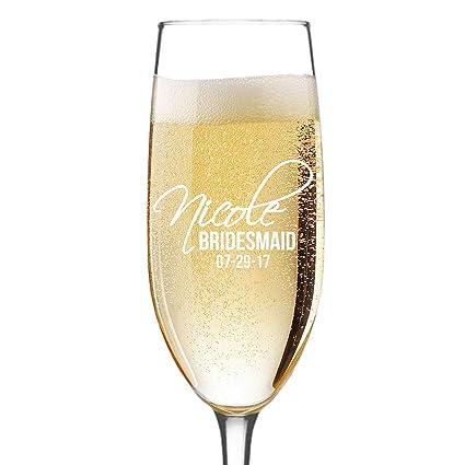 Amazon Personalized Champagne Flute Glass Bridesmaid Wedding