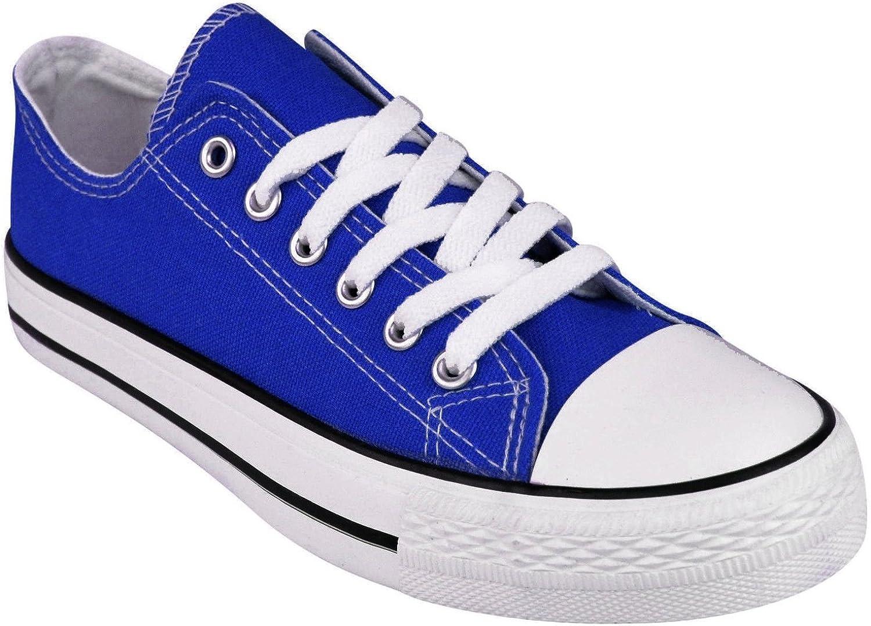Garçons//filles noir lacets casual plimsoles en toile décontracté chaussures uk 13