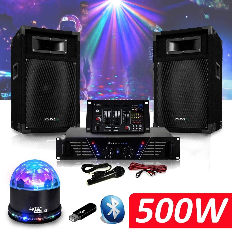 Pack sono DJ300 – Amplificador + altavoces 500 W + mesa de mezclas ...