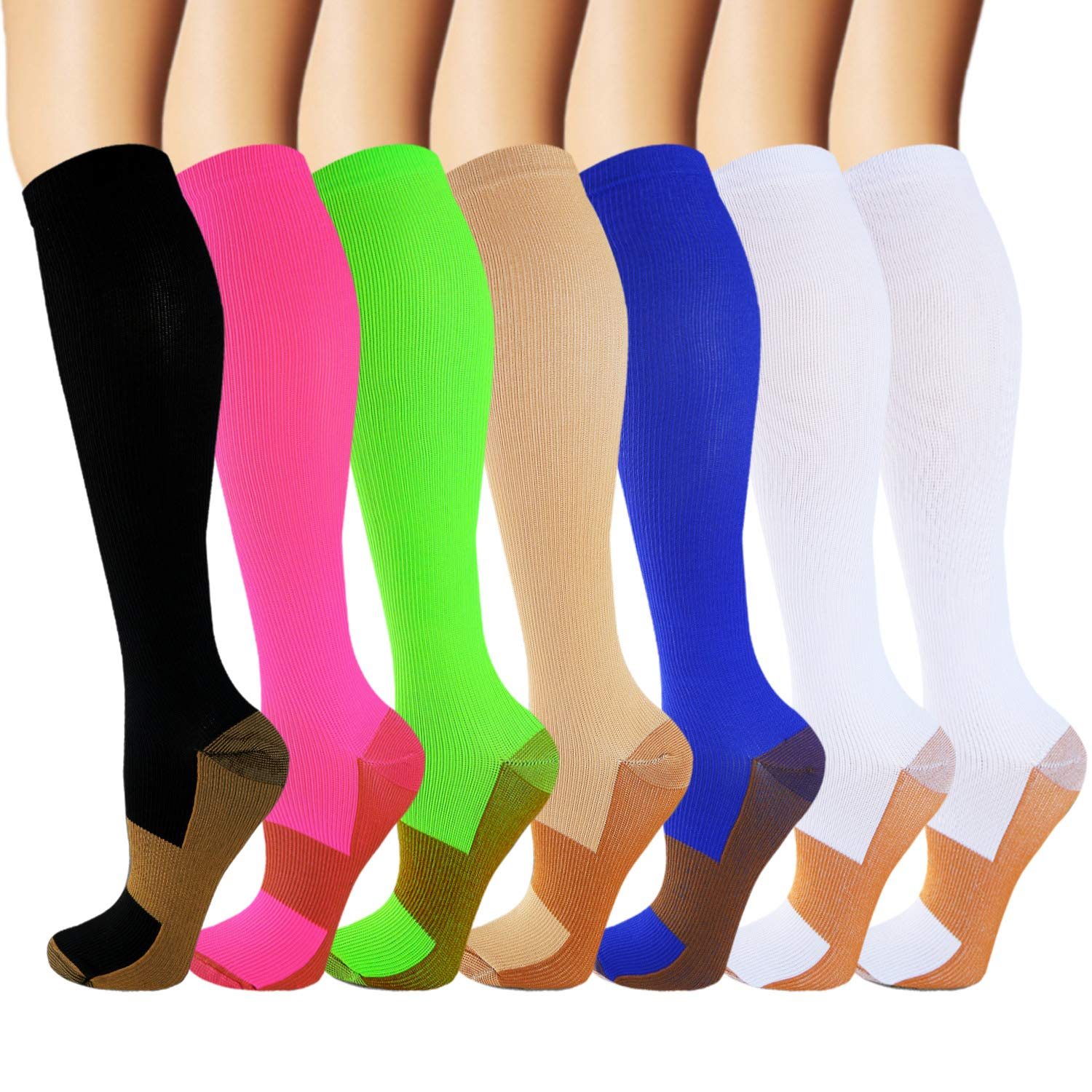 Iseasoo 7 Pack Copper Knee High Compression Socks for Men & Women - Best for Running,Athletic,Medical,Pregnancy and Travel -15-20mmHg(S/M,Multicoloured) by Iseasoo