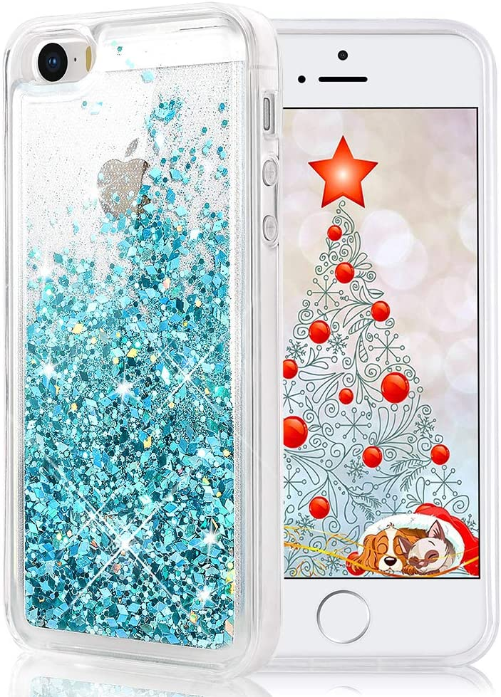 Maxdara iPhone SE Case, iPhone 5 5S Case, Glitter Liquid Bling Sparkle Girls Protective Case Pretty Fashion Creative Design for Children Gifts(Teal)