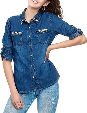 EGOMAXX Camisa de Vaquero para Mujer Blusa con Brillantes Piedras de Strass, Color:Azul, Talla:38: Amazon.es: Ropa y accesorios