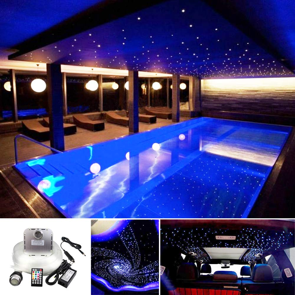 Huaxi Car Home Use 32W RGB Twinkle+ Sound Activated Fiber Optic Lights Kit Star Ceiling Sky Light with Total 800pcs in 13.1ft/4m + 9.8ft/3m Long Optical Fiber Cable for Indoor or Interior Deco