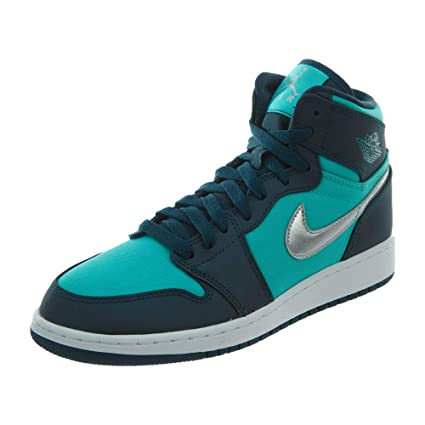 8a34c63f9ffc Image Unavailable. Image not available for. Color  Jordan Retro 1 High  Hyper Jade Metallic Silver-Midnight Turquoise-White ...
