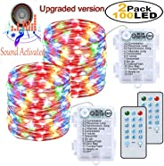 2 Pack Fairy String Lights Battery Powered 33ft 100 Led 12 Modes Remote & Timer Waterproof Outdoor Indoor Decorative for Christmas Wedding Party Home Bedroom(Multi Color)