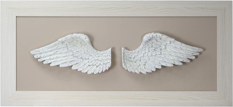Cuadro alas de Angel - 120x55x8 - Fabricado en España -Decorado artesanalmente - Bajorelieve - Tridimensional 3D - Escultura de Pared - Ideal para Salón - Dormitorio -