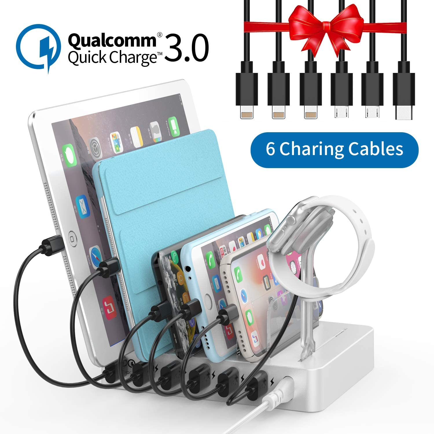 Kindle iWatch Stand 6 Phone Charger Cables for Smartphone Fastest Charging Station with Quick Charge 3.0 UL Listed NTONPOWER 6 Ports Charging Dock Station Organizer for Multiple Devices Tablet