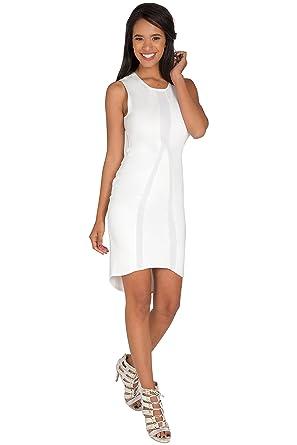 Standards & Practices Womens White Sleeveless Dress with Asymmetrical Hem ...