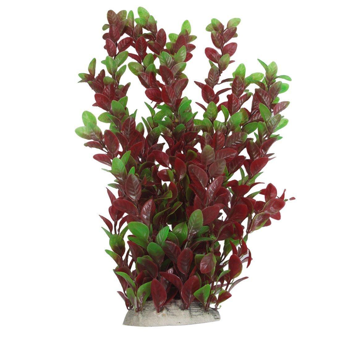 SODIAL (R) 40cm Pianta di plastica foglie verde rosse ornamento per Acquario SODIAL(R)