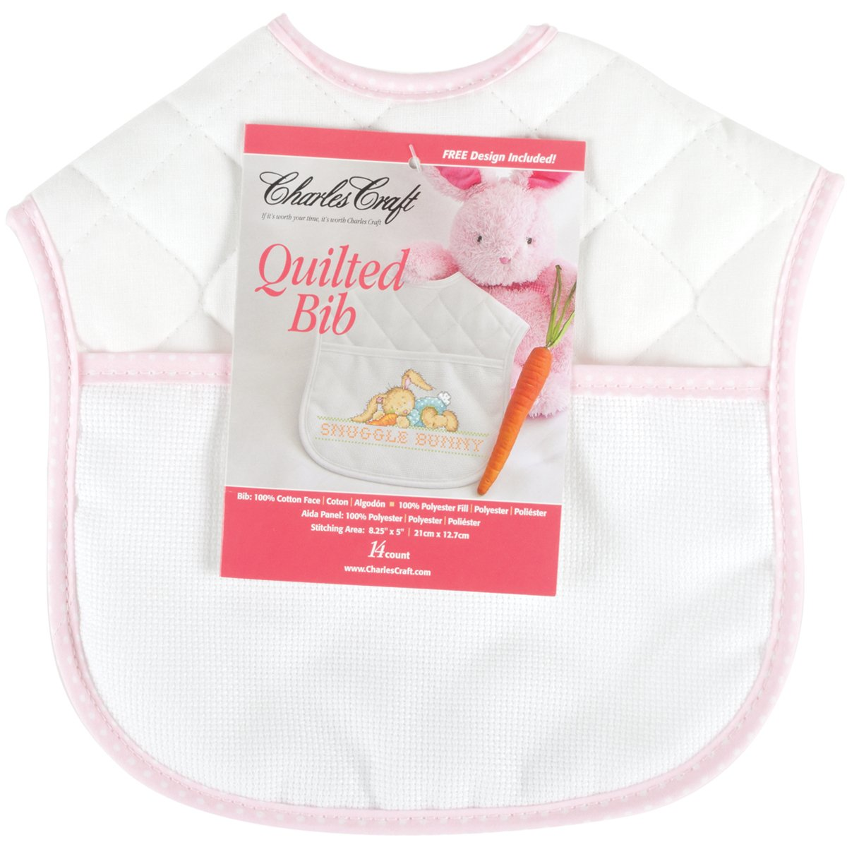 DMC BB4992-5640 Polyester/Cotton 9-Inch Quilted Baby Bib, Pink/White by DMC (Image #1)