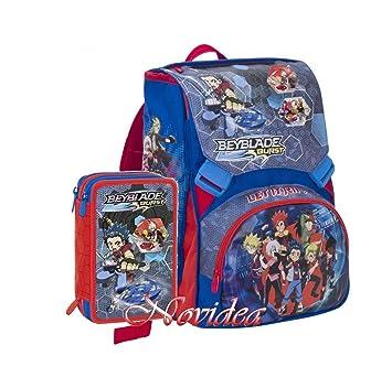 School Pack Seven - Mochila Escolar Beyblade Burst con Gadget + Estuche con 3 Cremalleras: Amazon.es: Equipaje