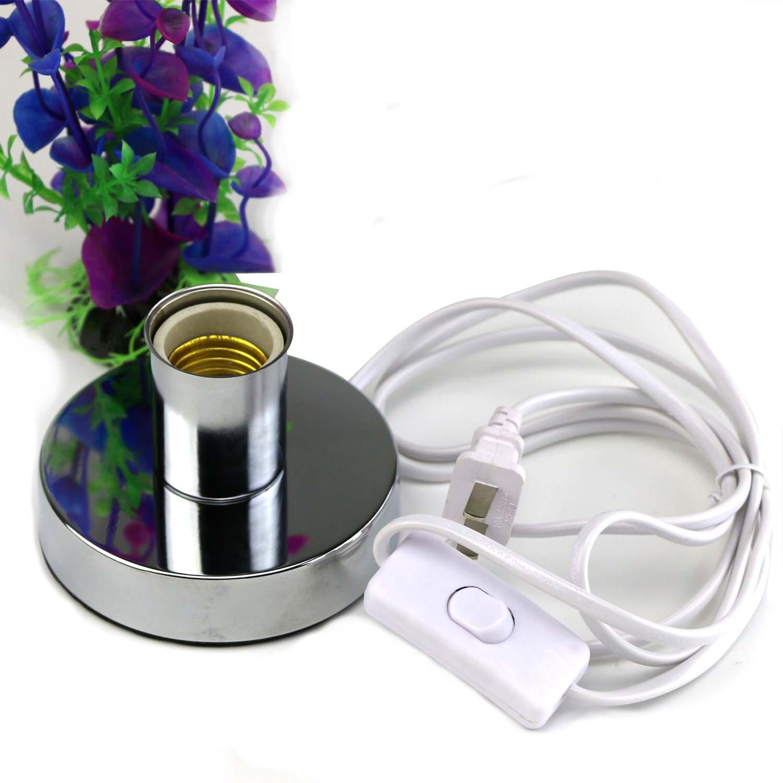 Household Polished Metal Desktop Lamp Base Ceramic Base Holder 5.84ft Cord On/off Switch Plug E26/e27 Screw Base Ideal for UV CFL Germicidal Lamp