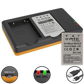2 Baterías + Cargador doble (USB) para Nikon EN-EL5 / Coolpix P500, P510, P520, P530, P5000, P5100, P6000... ver lista (contiene cable micro USB)