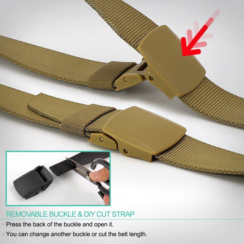 3ZHIYI Uomo Plastic Buckle cinghie di nylon di tela leggera stile militare