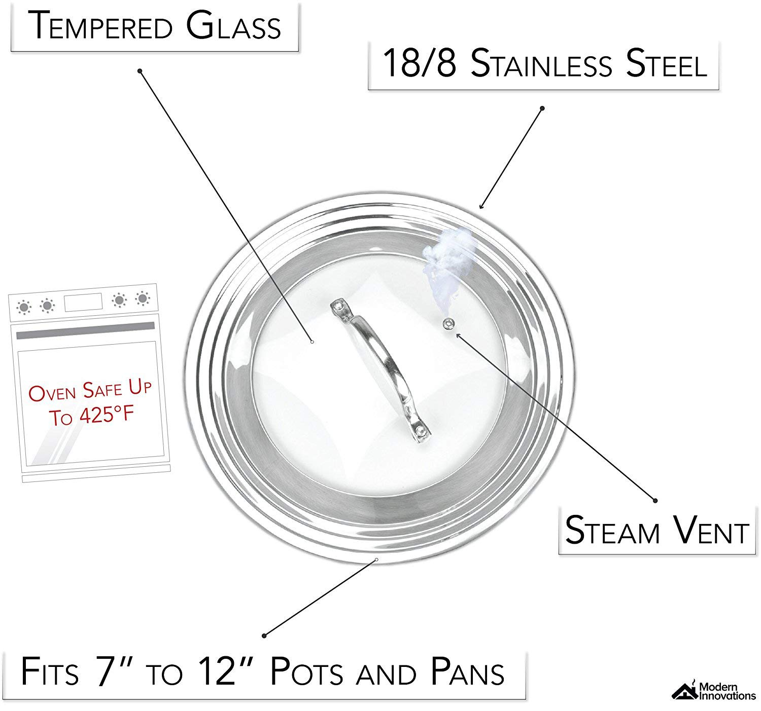 Universal Lid Stainless Steel 18/8 and Tempered Glass, Fits All 7'' to 12'' Pots and Pans, Replacement Frying Pan Cover and Cookware Lids by Modern Innovations (Image #3)