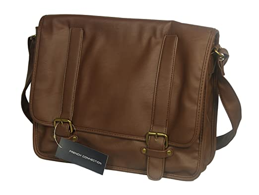 07298476d7 MENS FRENCH CONNECTION LEATHER SHOULDER LAPTOP BAG IN TAN COLOUR (Tan)   Amazon.co.uk  Clothing