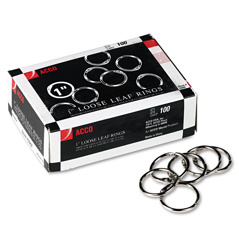 ACCO 72202 Metal Book Rings, 1'' Diameter, 100 Rings/Box