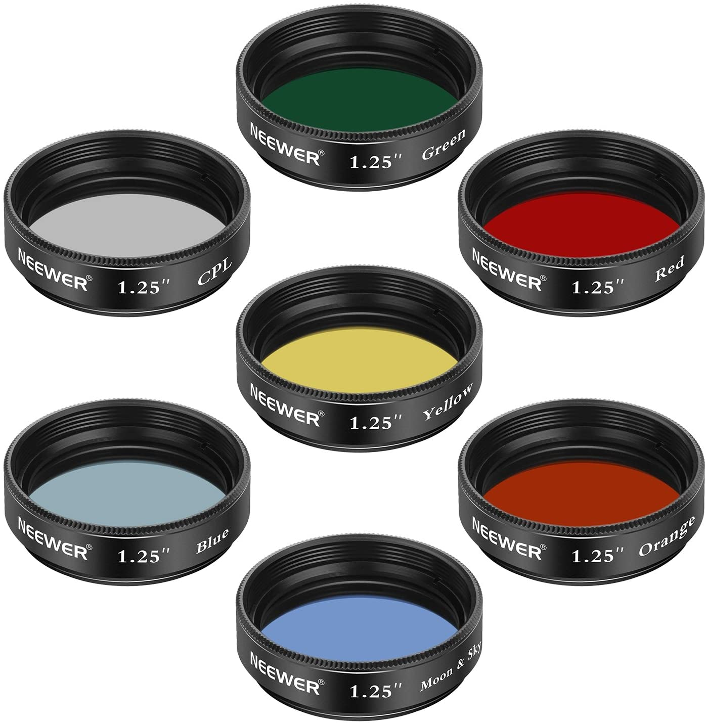 5 Color Filters Set Eyepieces Filters for Enhancing Definition and Resolution in Lunar Planetary Observation CPL Filter Red, Orange, Yellow, Green, Blue Neewer 1.25 inches Telescope Moon Filter