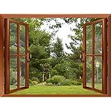 "Wall26 - Beautiful Garden/Backyard View from inside a Window | Wall26 Removable Wall Sticker / Wall Mural - 36""x48"""