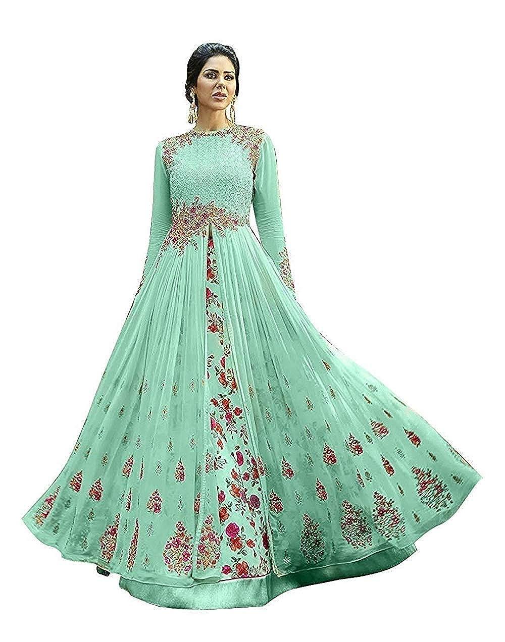 VKARAN Women's Sky Blue Georgette Semi stitched Sawar Suit(SL045)