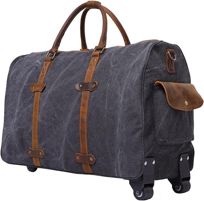 Mens Luggage Bag Crazy Horse Leather Travel Bag Retro Multifunctional Portable Messenger Bag Trend Color : Bronze, Size : L