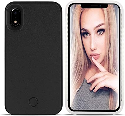 Dual Light Up Luminous Selfie Flashlight Case for iPhone X//XS 5.8inch LED Illuminated Selfie Light Cell Phone Case Cover Rechargeable iPhone X Case Black Wellerly iPhone Xs Case