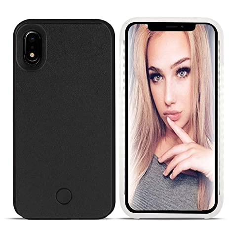 I Phone Xr Led Case   Lonheo I Phone Xr Illuminated Cell Phone Case Great For A Bright Selfie And Facetime Light Up Case Cover For I Phone Xr 6.1 Inch With A Free Phone Holder  Black by Lonheo
