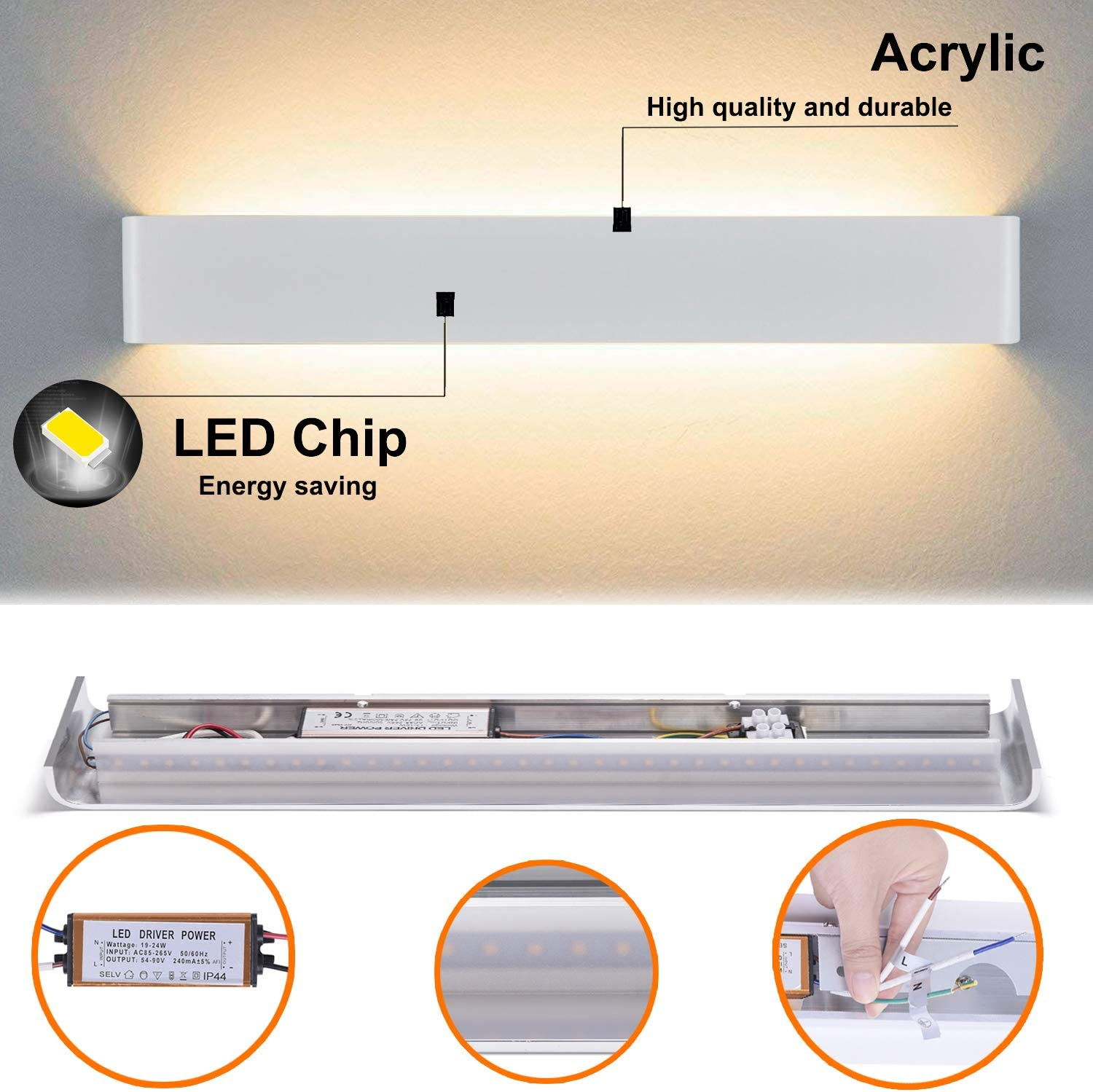 Yafido Wall Light Indoor LED 90CM Up Down Wall Sconce Lamp 30W Warm White 3000K Wall Wash Light for Living Room Bedroom Hallway Corridor Stairs AC 220V