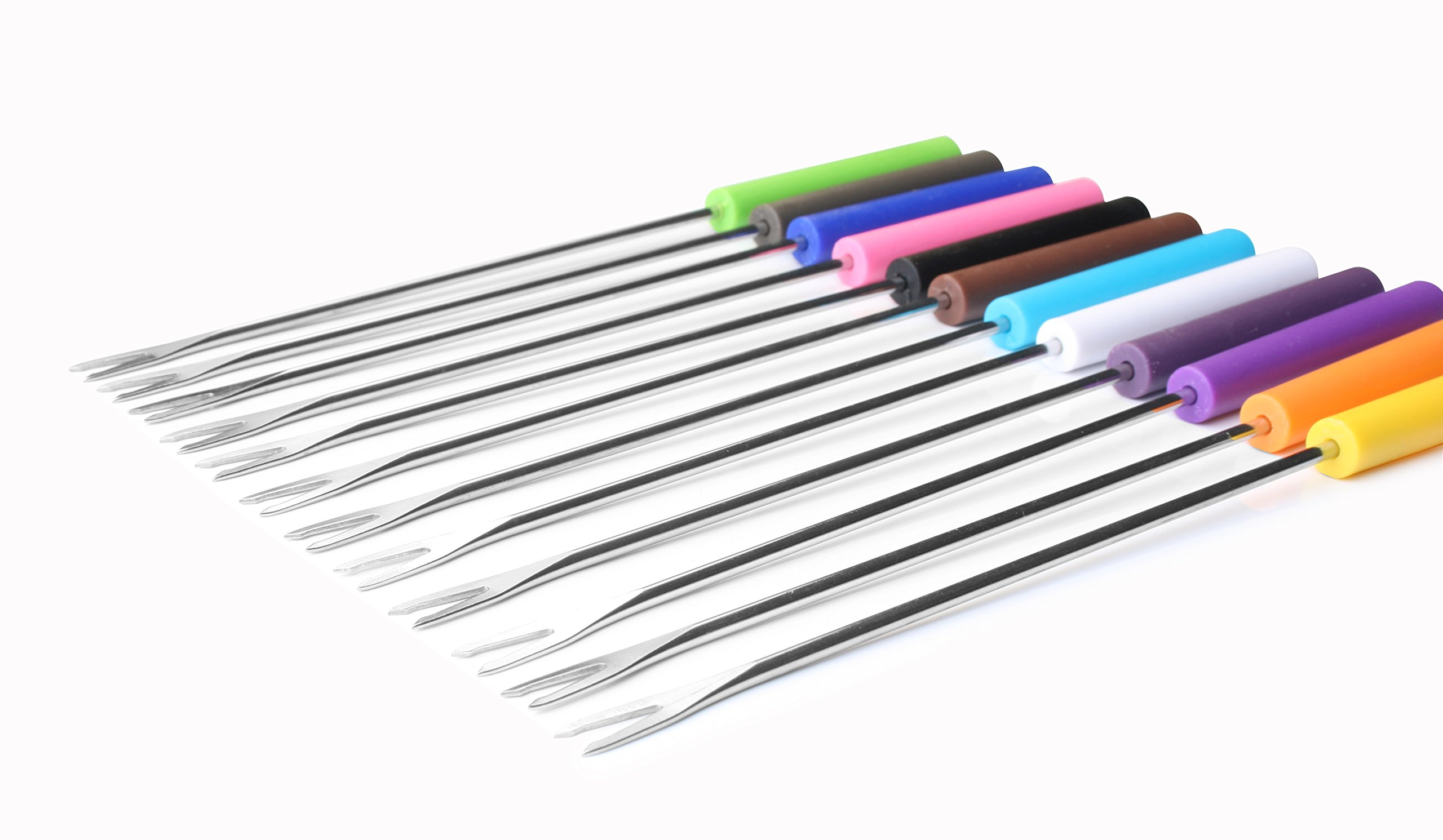 Artestia Stainless Steel Fondue Forks with Heat Proof Handle in Vivid Colors (Set of 12), 9.6 inch by Artestia (Image #3)
