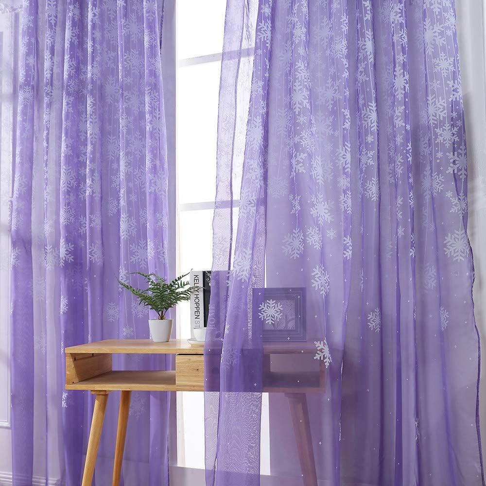 110cm x 250cm Salle d/étude et d/écoration de la Maison Violet XLGX 1 Pcs Rideaux de fen/être de Couleur Pure Rideau de Porte en Tulle Panneau de drapage pour Chambre denfant Voile Salon Rose